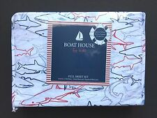 Boat House For Kids Full Sheet Set Red Blue Sharks on White 100% Polyester NEW