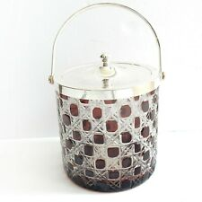 Cranberry Cut Glass Silverplated Biscuit Sweetie Jar Box