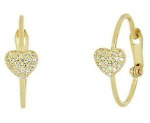 Bony Levy 18K Yellow Gold Petite Diamond Heart Huggie Hoop Earrings 0.24 ctw