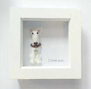 ODD BULLS English Bull Terrier Valentines Day 'I Love You' Figurine in Frame