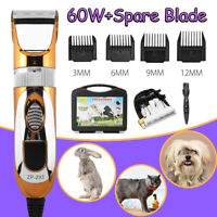 60W Pet Electric Hair Clippers Grooming Kit Trimmer + BOX Animals Cat Dog Horse