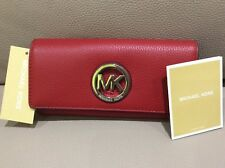 Michael Kors $178 Women'S Fulton Carryall Leather Wallet Red Silver Authentic