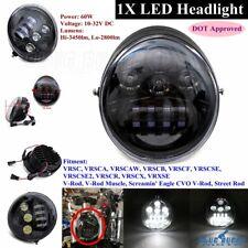 Dot Hi/lo Beam LED Headlight Headlamp for Harley V-rod VRSC VRSCA VRSCR VRSCX