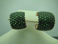 Turkish Handmade Jewelry 925 Sterling Silver Emerald Stone Ladies' Earrings