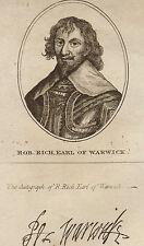 c1789 GEORGIAN PRINT ~ ROBERT RICH EARL of WARWICK FACSIMILE AUTOGRAPH THANE