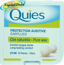 Quies Pure Natural Wax Ear Plugs Earplugs Protection 8 pairs
