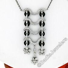 18K White Gold 1.15ctw Diamond & Custom Cut Onyx Flower Dangle Pendant Necklace