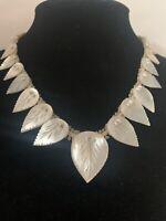 Vintage 1930's Mother of Pearl Carved Leaf Collar Necklace