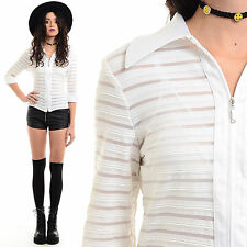 Vtg 90s Sheer Mesh Cutout Blouse Shirt Club-Kid Clueless Cyber Grunge Crop Top M
