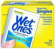 4 Pack - WET ONES Antibacterial Citrus Hand Wipes Singles 24 Count Each