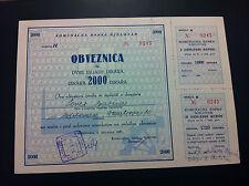 EXTRA RARRE- BOND- YUGOSLAVIA- 2000 DINARA 1961 -MUNICIPAL BANK BJELOVAR !!!