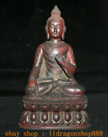 "12"" Ancien Tibet Bouddhisme Rouge Bronze Sakyamuni Amitabha Bouddha Statue"