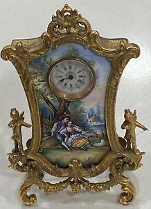 Antique French Enamel Gilt Brass Desk Clock Gorgeous Ornate No Res!