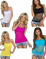 WOMENS LADIES CROCHET STRAPPY VEST CAMI FITTED TANK HOLIDAY SUMMER TOP SIZE 8-12