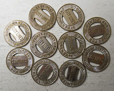 Lot of ten (10) City Lines of West Virginia (Clarksburg) transit tokens - WV140B