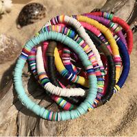 Boho Polymer Clay Disc Bead Stretch Bracelet Multicolored Beads Women Jewelry