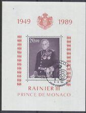 MONACO bloc 45 - PRINCE RAINIER de 1989 ** OBLITERE 1er JOUR