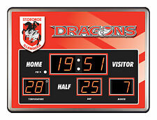 ST GEORGE DRAGONS NRL Rugby SCOREBOARD LED Glass Clock Man Cave Bar Fathers Gift