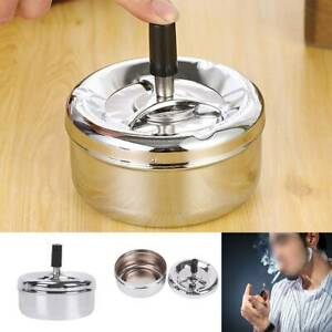11cm Cigarette Lidded Ashtray Windproof Smoking Holder with Lid Stainless Steel