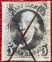 1847 US Stamp SC #1 5c Benjamin Franklin Pale Brown CV:$350