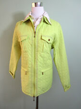 Women's ANDREA MARE Casual Green Quilted Lace Crochet Trim Jacket size 14 C158