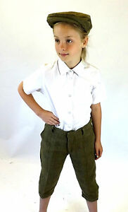 Tweed Plus Fours Kids New Made in Englad Breeches Green Matching Flat Cap