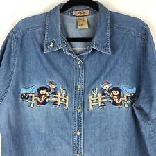 Vintage Denim Shirt Woman 18 /20 Western Cowboy Bears Embroidered Blue Cotton