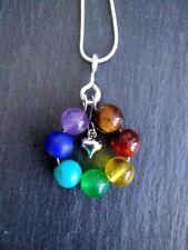 Chakra Healing Crystal Gemstones Silver necklace