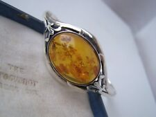 VINTAGE SOLID STERLING SILVER HONEY AMBER CUFF BANGLE BRACELET ADJUSTABLE 8 1/2""