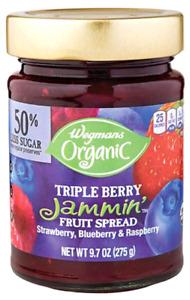 Wegmans Organic Jammin' Triple Berry Fruit Spread Jam, 9.7 ounce Jar