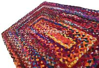 Indian Braided Cotton Floor Rug 2X3 Feet Handmade Rugs Reversible Boho Floor Mat