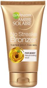 Garnier Ambre Solaire No Streaks Bronzer Self Tan Tinted Body Gel 150ml