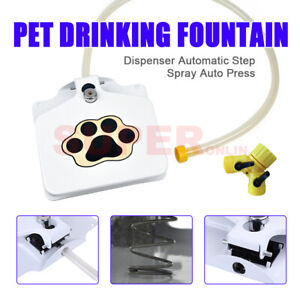 Pet Drinking Fountain Pedal Waterer Spray Spring Dog Puppy Step Training Station