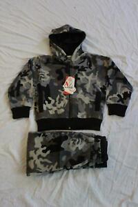 A2Z 4 Kids Boy's Camouflage Hooded Jacket & Joggers Set CD4 Multi Size 5-6 NWT
