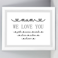 A4 A5 Personalised Mother's Day Print Birthday Unframed Gifts For Mum Mummy Nan
