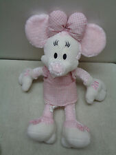 Disney Store Minnie Mouse Pink Spring Pastel Gingham Plush Stuffed Toy