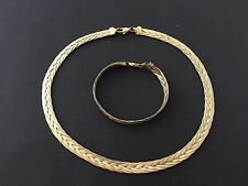 Two Pcs Set Tone Sterling Silver  Necklace & Bracelet Gold plated Made in Italy