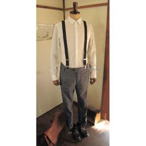 Mens 30mm Clip-on Heavy Duty Braces Suspenders, X-Shape, Made in Japan, Free P&P