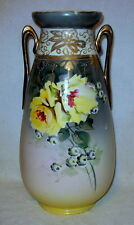 "Vintage Nippon Hand-Painted Guilded Vase 13"" Tall"