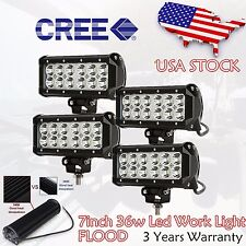 4x 7INCH 36W CREE LED WORK LIGHT BAR FLOOD OFFROAD LAMP 4WD BOAT ATV 4WD UTE SUV