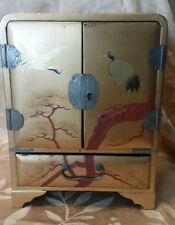 Antique/ VTG Asian Cabinet Style Wooden Jewelry Box Lock No Key Crane Decoration