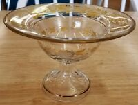 Vintage Gold Floral Vine Clear Glass Footed Pedestal Compote Dish