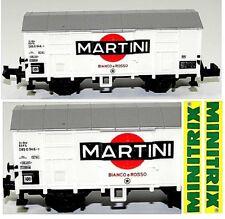 MINITRIX VINTAGE 3281 CARRO MERCI CHIUSO MARTINI Bianco-Rosso FS ITALIA  SCALA-N