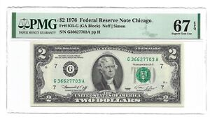 1976 $2 CHICAGO FRN, PMG SUBERB GEM UNCIRCULATED 67 EPQ BANKNOTE