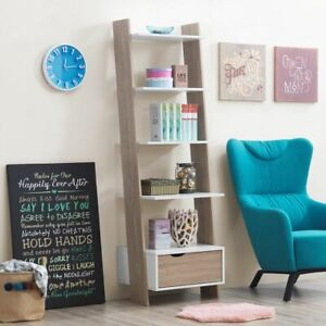Scandinavian Ladder Bookcase Shelving Shelf Unit 5 Tier White Oak