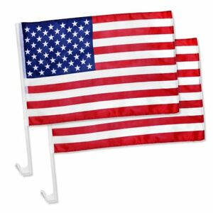 """2 Pack Lot 12x18 USA American Stars and Stripes Car Flag FLAGS WINDOW 18"""" X 12"""""""