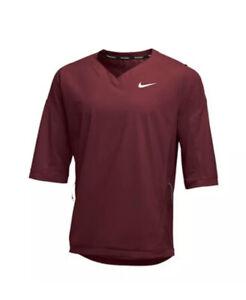 Nike Baseball 3/4 Sleeve Warm-Up Jacket Solid Maroon Men Size XL 897383-669