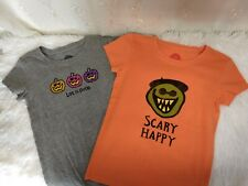 Lot of 2 Little Girls Size Small 5-6 Life is Good Halloween T-Shirts Guc