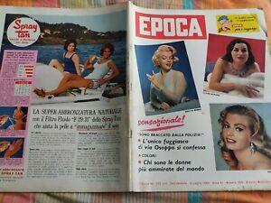 Rivista Epoca n.509 del 1960 Marilyn Monroe Mangano Ekberg + sup. fumetto