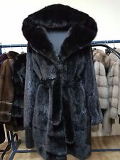 REAL NEW MINK FUR COAT JACKET HOOD BLACK SAGA MEXA NERZMANTEL FOX SABLE CINCILA